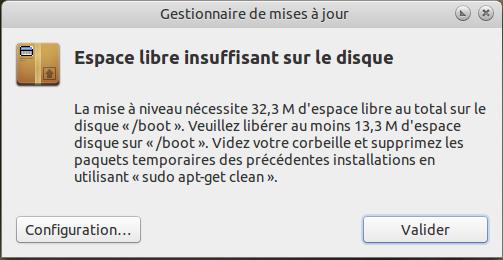 Ubuntu message libérer espace partition boot
